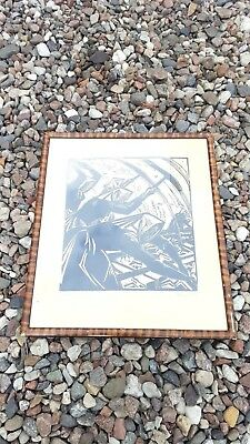Original Sella Hase Print Germany 1912-16 Streckenarbaiterin signed Expresionist