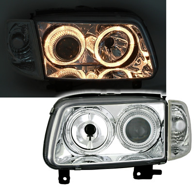 Angel Eyes Scheinwerfer Set + Blinker für VW POLO 6N2 9/99- in Chrom Klarglas
