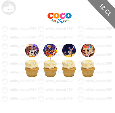12 Coco Movie Disney Cupcake Cake Toppers Food Picks Favor Party for Kids