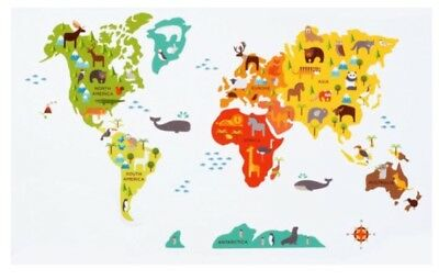 Animals of the World Map Removable Wall Stickers for Kids PlayRoom Bedroom Decal