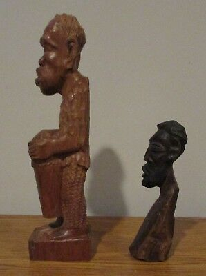 Vintage Hand Carved Man Tree Branch Sculpture African Tribal Art Drum