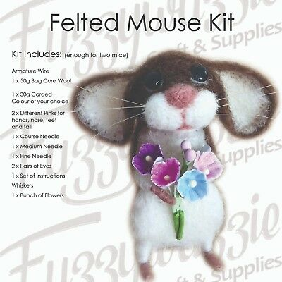 Needle Felting Mouse Kit Includes Core Wool Armature Wire Needles Enough For Two