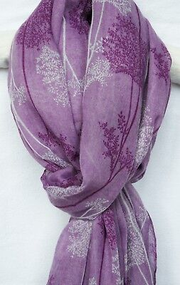 New Womens Light Purple Scarf White Forest Tree Pattern  Wrap Shawl On Trend