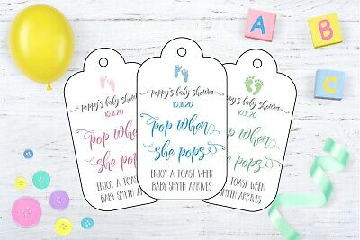 10 x PERSONALISED POP WHEN SHE POPS BABY SHOWER FAVOUR TAGS - MUM TO BE
