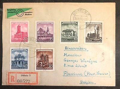 1955 Dobeln DDR East Germany Registered Cover To Belgium Compl Set Mi 491 96 MXE