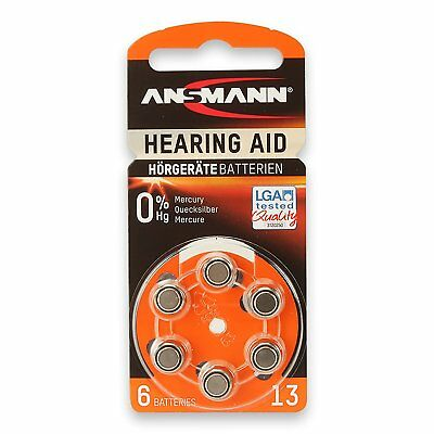 6 x ANSMANN Hearing Aid Batteries | Zinc Air Battery ZA13 | PR48 1.45V | 5013243