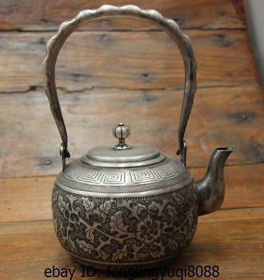 8 Archaic Japanese Pure Silver Carved Flower Pattern Flagon Kettle Wine Tea Pot