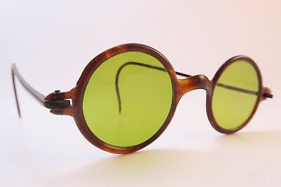Vintage early 20th century sunglasses round olive green glass lenses SUPERB