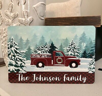 red truck metal sign christmas sign farmhouse decor plaid christmas decor