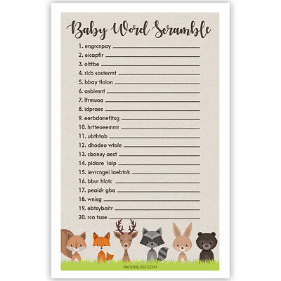 Woodland Creatures Baby Shower Game - Baby Word Scramble - Set of 30