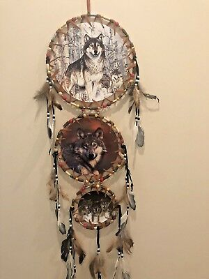 Free Shipping! 3 Tier Dream Catcher 3 Canvas Pictures Wolves, Wolf Pack