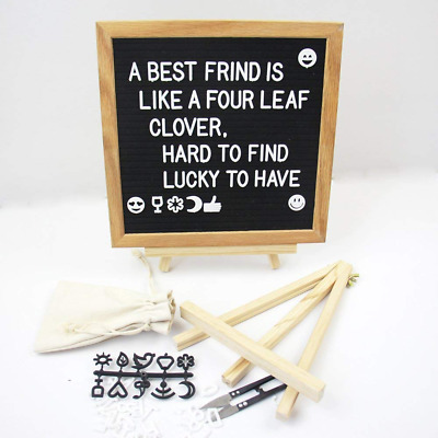 10x10 inches Changeable Letter Board Felt, Wooden Message Sign, Oak Wood Frame