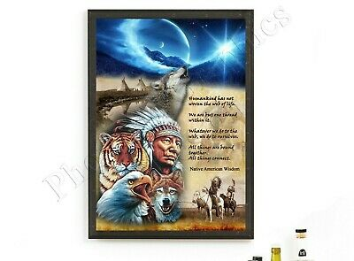 Native American Indian Wisdom Quote Poster Wolf Picture Print ONLY Wall Art A4
