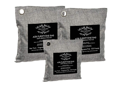 3 Pack Activated Charcoal Bag Natural Odor Absorber Air Purifying Dehumididier