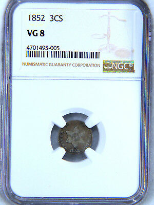1852 3 Cent Silver NGC VG8 #513R