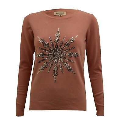 2ae4a4c1459 LADIES CHRISTMAS NOVELTY Jumper Sparkly Sequin Thin Pink Xmas Top Womens  Sweater