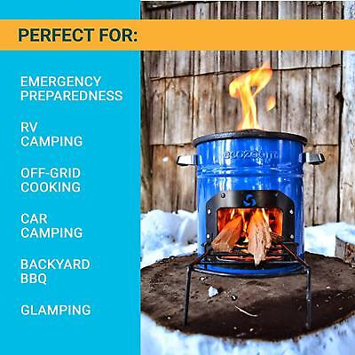 Portable Camping Wood Burning Stove and Cooking Pot Set for Fishing Hiking D1S5