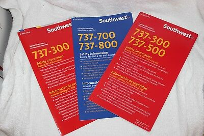 Southwest Airlines Boeing Retired 737-300 -500 And 737-700/800 Safety Cards Card