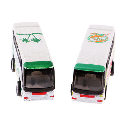 2Pcs Mini Alloy Bus Model Toy 1/200 N Z Scale for Roadway Scenery Build Accs