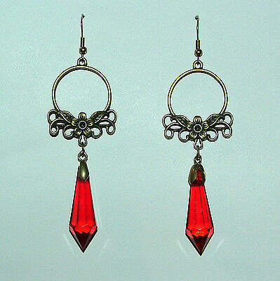 Long Art Nouveau Style Faceted Red Dark Gold Plated Flower Earrings Fn