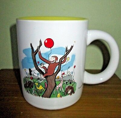 CURIOUS GEORGE Childrens Book Character Logo Mug Monkey Zoo Animals Red Balloon
