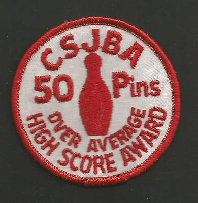 Csjba Over Average High Score Award 50 Pins Vintage Patch 3 ""