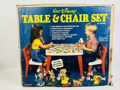 Vintage Disney Childrens Plastic Table & Chair Set Empire Mickey Minnie Donald
