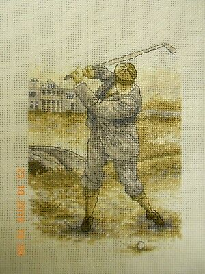 Completed Counted Cross Stitch Golfer Browns .Beiges. Very Neat.