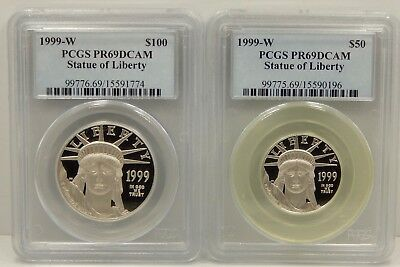 1999 W 4 Piece Proof Platinum American Eagle Set - PCGS Certified PR69 DCAM !!