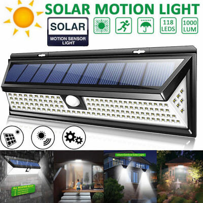 118LED 1000LM Solar Lamp Outdoor Garden Yard Waterproof PIR Motion Sensor Light
