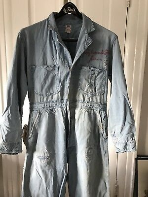 Vtg 50s LEE Sanforized Union Alls Repairs Chain Stitch Sz 38 S coveralls jeans