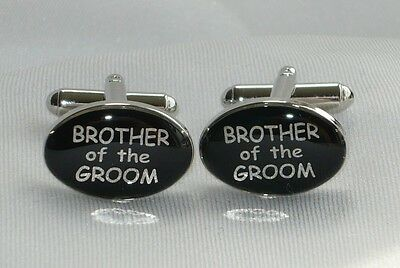 Brother of the Groom cufflinks with ** FREE * Suedette pouch, cufflinks NEW