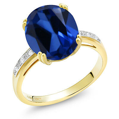 6.17 Ct Oval Blue Created Sapphire White Diamond 10K Yellow Gold Ring