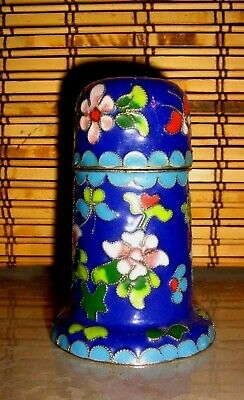 "ANTIQUE CHINESE BRASS & ENAMEL 3.25"" Covered FLORAL CLOISONNE SPICE JAR-XLNT!"