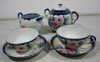 Antique Nippon Japanese Porcelain Moriage Blue Tea Pot Tea Set for two.