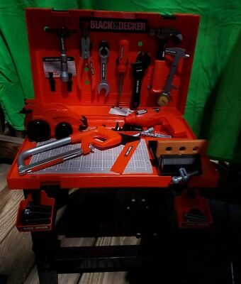 Black and Decker Jr. Workbench; Children's Construction Playset in Carrying case