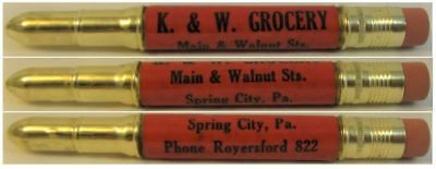 RESTORED by Ragan - Vintage Bullet Pencil - K & W Grocery EF-1043