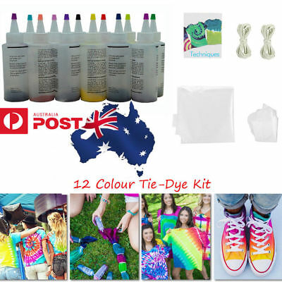 5/12 Colour Bottle Tie Dye Kit + Rubber Band +4 Pairs Vinyl Gloves DIY Kit vv