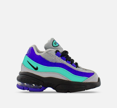 New Nike Baby Little Air Max '95 Toddlers Shoes (905462-023)  Grey/Purple-Aqua