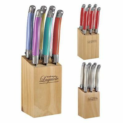 Chateau Laguiole Steak Knife Set Stainless Steel with wooden Knives Block 6pcs
