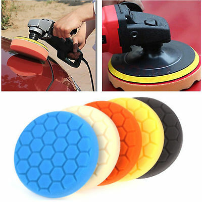 "5 Pack 5/6/7"" Polishing Sponge Waxing Buffing Pads Compound Auto Car Polisher"