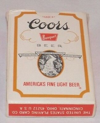 Vtg Coors Banquet Beer Plastic Coated Bridge Sz Playing Cards Full Deck 2 Jokers