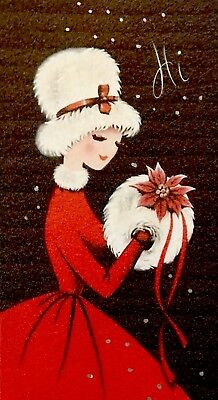 Beautiful Lady Red Dress Fur Collar Hat Poinsettia Muff VTG XMAS Card FRONT 60's