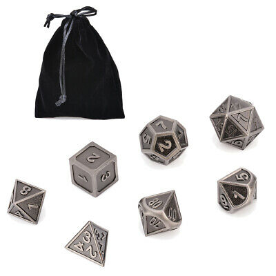 7Pcs Metal Polyhedral Multi-sided Dice w/ Bag For DND RPG MTG Board Game D4-D20