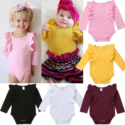 Newborn Baby Girl Long Sleeve Ruffle Cotton Romper Jumpsuit Outfit Clothes 0-24M