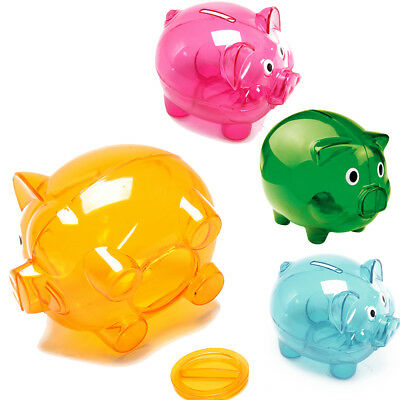 Piggy Bank Money Box Saving Coins Cash Fun Gift Plastic Pig Safe Clears Kids UK