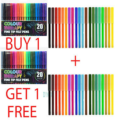 36 Pack Felt Tip Pens Fibre Tipped Drawing Markers Painting Colouring Art School