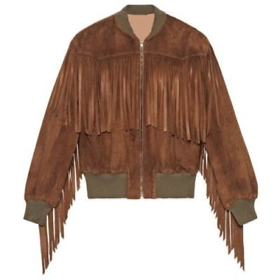 Native American Western Women Tan Brown Suede Leather Bomber Jacket with Fringes