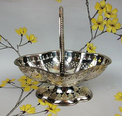Superb antique Victorian Silver or Plated pierced BASKET DISH BOWL with handle.