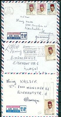 MOROCCO 1970s LOT OF 3 COVERS WITH NICE STAMPS & POSTMARKS -CAG 091018